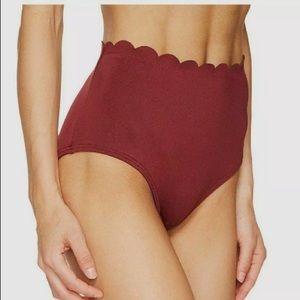 $197 Kate Spade Red Scalloped High-Waist Bikini L